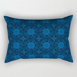 Lapis Blue Floral Rectangular Pillow