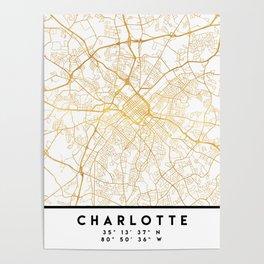 CHARLOTTE NORTH CAROLINA CITY STREET MAP ART Poster