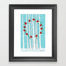 Cardinals in the Snow Framed Art Print