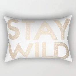 Stay Wild White Gold Quote Rectangular Pillow