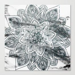 Indie Floral Mandla on White Marble Canvas Print