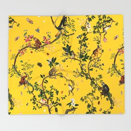 Monkey World Yellow Throw Blanket
