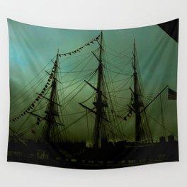Green ship Wall Tapestry