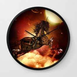 Steampunk, awesome steampunk horse Wall Clock