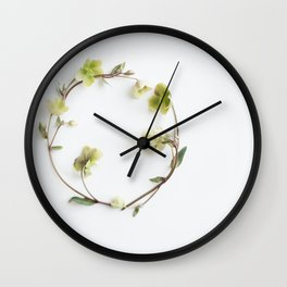 flowers in a green circle Wall Clock