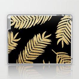 Gold Glitter Palms  |  Black Background Laptop & iPad Skin