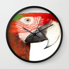 A Beautiful Bird Harlequin Macaw Portrait Background Removed Wall Clock