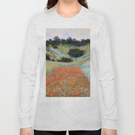 Poppy Field in a Hollow near Giverny by Claude Monet Long Sleeve T-shirt