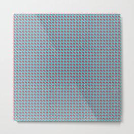 Red Blue Houndstooth Pattern Metal Print