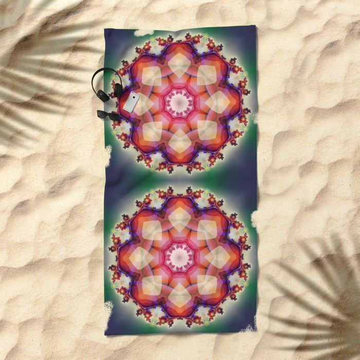 Decorative mandala abstract with translucent colors Beach Towel