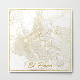 El Paso Map Gold Metal Print