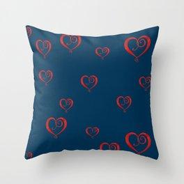 Polka Heart Party, Blue Throw Pillow