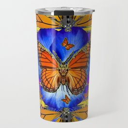 ABSTRACT ORANGE MONARCH BUTTERFLIES & BLUE FLORAL BLACK Travel Mug