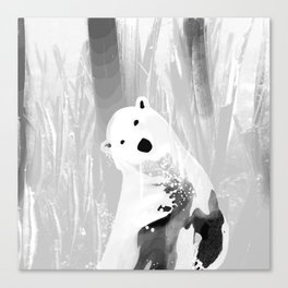 Unique Black and White Polar Bear Design Canvas Print