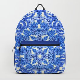 Cobalt Blue & China White Folk Art Pattern Backpack