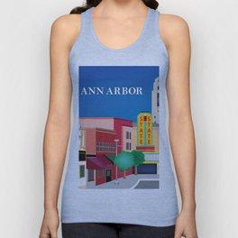 Ann Arbor, Michigan - Skyline Illustration by Loose Petals Unisex Tank Top