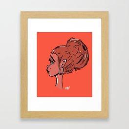 Girl with bun Framed Art Print