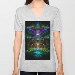 Neons - Fractal - Visionary - Manafold Art Unisex V-Neck