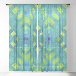 Green and blue geometric abstract motif, hand painted elements Sheer Curtain