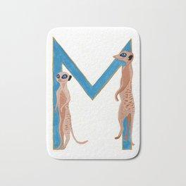 M is for Meerkat Letter Alphabet Decor Design Art Pattern Bath Mat