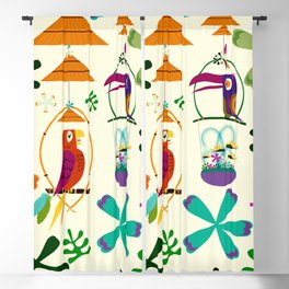 Vintage Modern Tiki Birds Blackout Curtain