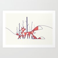foxes Art Prints featuring Foxes by Ale Giorgini