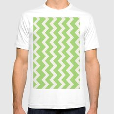 Crazy for Chevron - Lime MEDIUM White Mens Fitted Tee