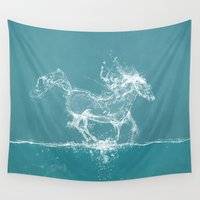 horse Wall Tapestries featuring The Water Horse by Paula Belle Flores