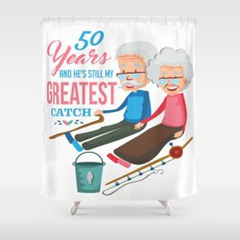 Anniversary 50 Couple Fishing Wife Husband Gift Shower Curtain