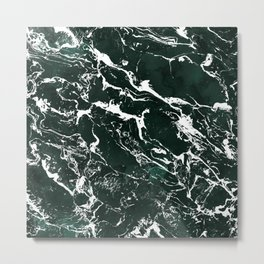Dark green forest watercolor white marble christmas pattern Metal Print