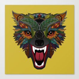wolf fight flight ochre Canvas Print