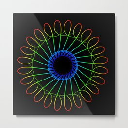 Spirographs yellow in neon style. Metal Print