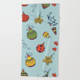Christmas Toys Pattern Beach Towel