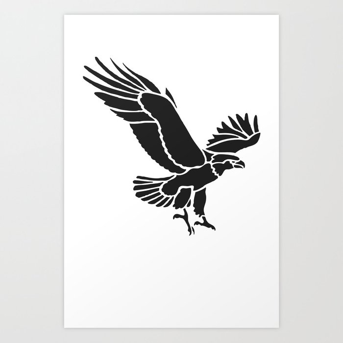 black and white flying eagle drawing art print by artonwear society6