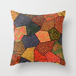 Japanese colorful quilt patchwork Throw Pillow
