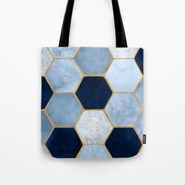 Deco Blue Marble II with Metallic Gold Accents Tote Bag