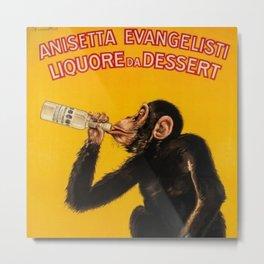 Vintage Anisette Liquor Italian Drinking 'Drunken Monkey' Aperitif Advertisement Poster Metal Print