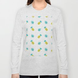 Summer sunshine yellow teal pineapple tropical leaves pattern Long Sleeve T-shirt