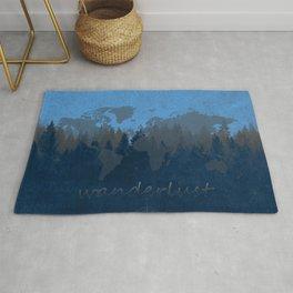 world map wanderlust forest blue Rug