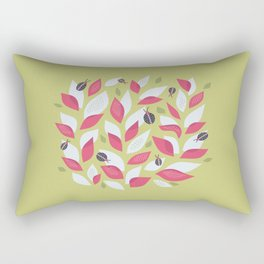 Pretty Plant With White Pink Leaves And Ladybugs Rectangular Pillow