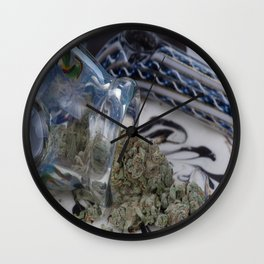Silver Afghan Medical Marijuana Wall Clock