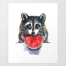 Raccoon Breakfast Art Print