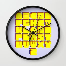 Happy Squares Typeface Wall Clock