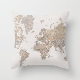 World map with cities in brown and light gray Throw Pillow