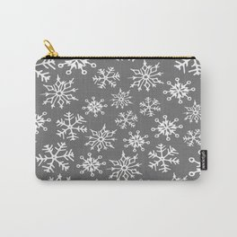 Snowflakes Pattern (Light Gray) Carry-All Pouch