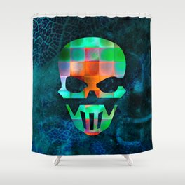 CHECKED DESIGN II - SKULL Shower Curtain