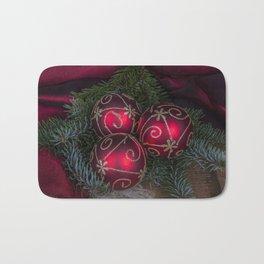 Red Christmas Balls Bath Mat