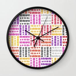 bright pattern of pink, yelow and purpe no 4 Wall Clock