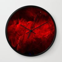 duvet cover Wall Clocks featuring Red Duvet Cover by Corbin Henry