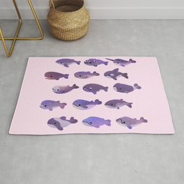 Whale Day - bright Rug